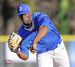 Photo of the Spartanburg Methodist College Pioneers in a junior college game against the Georgia Perimeter Jaguars on Wednesday, February 11, 2015, at Mooneyham Field in Spartanburg, South Carolina. (Tom Priddy/Four Seam Images)