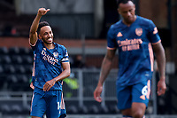 12th September 2020; Craven Cottage, London, England; English Premier League Football, Fulham versus Arsenal; Pierre-Emerick Aubameyang of Arsenal celebrates after he scores for 0-3 in minute 57