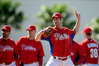 February 14, 2011; Clearwater, FL, USA; Philadelphia Phillies pitcher Cliff Lee during spring training at Bright House Networks Field. Mandatory Credit: Mark J. Rebilas-