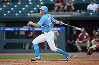 Ashton McGee (36) of the North Carolina Tar Heels follows through on his swing against the Florida State Seminoles in the 2017 ACC Baseball Championship Game at Louisville Slugger Field on May 28, 2017 in Louisville, Kentucky. The Seminoles defeated the Tar Heels 7-3. (Brian Westerholt/Four Seam Images)