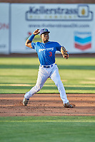 Sauryn Lao (3) of the Ogden Raptors throws to first base against the Orem Owlz at Lindquist Field on July 27, 2019 in Ogden, Utah. The Raptors defeated the Owlz 14-1. (Stephen Smith/Four Seam Images)