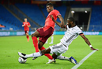 6th August 2020, Basel, Switzerland. UEFA National League football, Switzerland versus Germany;  v.l. Breel Embolo is tackled by Antonio Ruediger (ger)