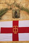 An icon of Mar Saba at the entrance of the Greek Orthodox Mar Saba monastery in the Judean Desert