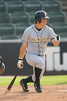 Anthony Scelfo #9 of the Bowling Green Hot Rods follows through on his swing versus the Kannapolis Intimidators at Fieldcrest Cannon Stadium August 23, 2009 in Kannapolis, North Carolina. (Photo by Brian Westerholt / Four Seam Images)