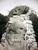 BNPS.co.uk (01202) 558833. <br /> Pic: ZeitgeistToursLtd/BNPS<br /> <br /> Pictured: Memorial of an unidentified German 'captured tank detachment'. <br /> <br /> Never-before-seen photos of the first time the Germans used captured British tanks against Allied soldiers have come to light on the 103rd anniversary of the battle. <br /> <br /> The British were the first to invent the tank in 1916 and a year later used them to overwhelm the enemy at the Battle of Cambrai in the First World War.<br /> <br /> Although the battle was a success for the British, the Germans captured several Mark IV tanks.<br /> <br /> Rather than build their own from scratch, the Germans adapted the British ones to suit their needs.