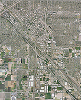 historical aerial photo map of Fresno, California, 2006