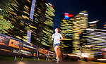 Runners in action during the Bloomberg Square Mile Relay at the The Promontory at Marina Bay on 27 October 2016 in Singapore. Photo by Victor Fraile / Power Sport Images