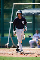 GCL Yankees West shortstop Roberto Chirinos (32) at bat during the first game of a doubleheader against the GCL Braves on July 30, 2018 at Champion Stadium in Kissimmee, Florida.  GCL Yankees West defeated GCL Braves 7-5.  (Mike Janes/Four Seam Images)