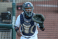 Cedar Rapids Kernels catcher Brian Navarreto (21) warms up prior to game five of the Midwest League Championship Series against the West Michigan Whitecaps on September 21st, 2015 at Perfect Game Field at Veterans Memorial Stadium in Cedar Rapids, Iowa.  West Michigan defeated Cedar Rapids 3-2 to win the Midwest League Championship. (Brad Krause/Four Seam Images)