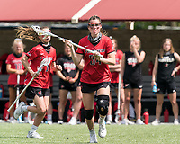 NEWTON, MA - MAY 14: Ellie Grefenstette #34 of Fairfield University looks to pass during NCAA Division I Women's Lacrosse Tournament first round game between Fairfield University and Boston College at Newton Campus Lacrosse Field on May 14, 2021 in Newton, Massachusetts.