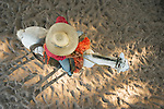 Looking down on a cowboy riding a horse, Fazenda Rio Negro, Pantanal, Brazil.