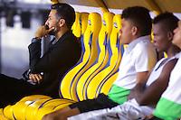 BARRANQUIILLA -COLOMBIA-07-05-2016: Mario Alberto Yepes técnico de Deportivo Cali gesticula durante partido contra Atlético Junior por la fecha 17 de la Liga Águila I 2016 jugado en el estadio Metropolitano Roberto Meléndez de la ciudad de Barranquilla./ Mario Alberto Yepes coach of Deportivo Cali gestures during match  against  Atletico Junior for the date 17 of the Aguila League I 2016 played at Metropolitano Roberto Melendez stadium in Barranquilla city.  Photo: VizzorImage/ Alfonso Cervantes /Cont