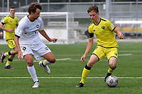 Adam Hillis of the Wellington Phoenix competes for the ball with Kingsley Sinclair of Eastern Suburbs during the ISPS Handa Men's Premiership - Wellington Phoenix v Eastern Suburbs at Fraser Park, Wellington on Saturday 28 November 2020.<br /> Copyright photo: Masanori Udagawa /  www.photosport.nz
