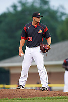 Batavia Muckdogs relief pitcher Vincenzo Aiello (38) looks in for the sign during a game against the Lowell Spinners on July 12, 2017 at Dwyer Stadium in Batavia, New York.  Batavia defeated Lowell 7-2.  (Mike Janes/Four Seam Images)