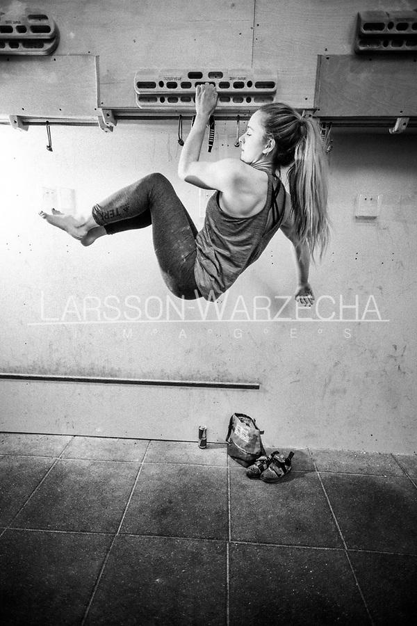 Shauna Coxsey training at Climbing Works, Sheffield