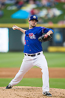 Round Rock Express pitcher Phil Irwin (56) delivers a pitch to the plate during the Pacific Coast League baseball game against the Sacramento River Cats on June 19, 2014 at the Dell Diamond in Round Rock, Texas. The Express defeated the River Cats 7-1. (Andrew Woolley/Four Seam Images)