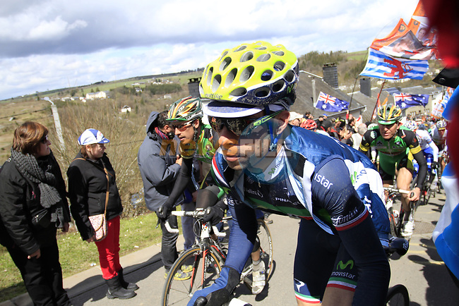 The peloton including Italian National Champion Giovanni Visconti (ITA) Movistar Team climb Cote de Saint-Roch during the 98th edition of Liege-Bastogne-Liege, running 257.5km from Liege to Ans, Belgium. 22nd April 2012.  <br /> (Photo by Eoin Clarke/NEWSFILE).