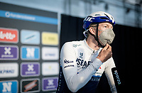 Sep Vanmarcke (BEL/Israel Start-Up Nation) interviewed at the no-fans-allowed (due to Covid-19) team presentation of the 76th Omloop Het Nieuwsblad 2021<br /> ME(1.UWT)<br /> 1 day race from Ghent to Ninove (BEL): 200km<br /> <br /> ©kramon