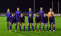 Anderlecht players with Tessa Wullaert , Britt Vanhamel , Michelle Colson , Tine De Caigny , Lowiese Seynhaeve , Mariam Abdulai Toloba , Laura Deloose , Elke Van Gorp , Kassandra Missipo , Stefania Vatafu and Sakina Ouzraoui Diki pictured posing for the teampicture during a female soccer game between RSC Anderlecht Dames and SV Zulte Waregem on the 10 th matchday of the 2020 - 2021 season of Belgian Womens Super League , friday 18 th of December 2020  in Tubize , Belgium . PHOTO SPORTPIX.BE | SPP | DAVID CATRY