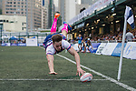 A-Trade Overseas Old Boys (in pink and white) versus Projecx Waterboys (in dark blue) during GFI HKFC Rugby Tens 2016 on 07 April 2016 at Hong Kong Football Club in Hong Kong, China. Photo by Juan Manuel Serrano / Power Sport Images