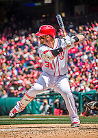 15 May 2016: Washington Nationals outfielder Bryce Harper at bat against the Miami Marlins at Nationals Park in Washington, DC. The Marlins defeated the Nationals 5-1 in the final game of their 4-game series.  Mandatory Credit: Ed Wolfstein Photo *** RAW (NEF) Image File Available ***