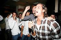"Feliciano Lopez,  Nikola Loncar, Novak Djokovic, Players Party, Novak restaurant, ATP 250 series tennis tournament ""Serbia Open"" in Belgrade, Serbia, Tuesday, April 26. 2011. (photo: Pedja Milosavljevic / SIPA PRESS)"