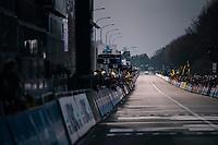 finish line in Oudenaarde waiting for the race winner to roll in<br /> <br /> 102nd Ronde van Vlaanderen 2018 (1.UWT)<br /> Antwerpen - Oudenaarde (BEL): 265km