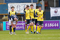 20th February 2021; Dens Park, Dundee, Scotland; Scottish Championship Football, Dundee FC versus Queen of the South; Rhys Breen of Queen of the South celebrates with Euan East after scoring for 2-0 in the 38th minute