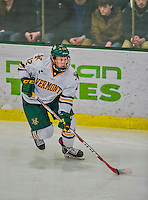 21 February 2015:  University of Vermont Catamount Forward Mike Stenerson, a Sophomore from Surrey, British Columbia, in first period action against the Merrimack College Warriors at Gutterson Fieldhouse in Burlington, Vermont. The teams played to a scoreless tie as the Cats wrapped up their Hockey East regular home season. Mandatory Credit: Ed Wolfstein Photo *** RAW (NEF) Image File Available ***