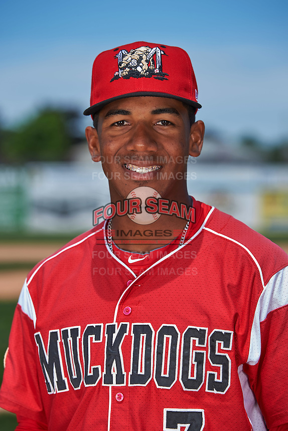 Batavia Muckdogs catcher Pablo Garcia (7) poses for a photo before the teams first practice on June 15, 2016 at Dwyer Stadium in Batavia, New York.  (Mike Janes/Four Seam Images)