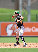 Wharton Wildcats infielder Zach Ehrhard (14) throws to first base during the 42nd Annual FACA All-Star Baseball Classic on June 6, 2021 at Joker Marchant Stadium in Lakeland, Florida.  (Mike Janes/Four Seam Images)