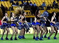 BOGOTÁ - COLOMBIA, 22-07-2018: Bastoneras de Millonarios animan a su equipo durante partido de la fecha 1 entre Millonarios y Boyacá Chicó F. C., por la Liga Aguila II-2018, jugado en el estadio Nemesio Camacho El Campin de la ciudad de Bogota. / Cheerleaders of Millonarios cheer for their team during a match of the 1st date between Millonarios and Boyaca Chico F. C., for the Liga Aguila II-2018 played at the Nemesio Camacho El Campin Stadium in Bogota city, Photo: VizzorImage / Luis Ramirez / Staff.