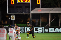 LAKE BUENA VISTA, FL - JULY 16: Darlington Nagbe #6 of the Columbus Crew SC before the game during a game between New York Red Bulls and Columbus Crew at Wide World of Sports on July 16, 2020 in Lake Buena Vista, Florida.