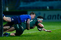 2nd January 2021; RDS Arena, Dublin, Leinster, Ireland; Guinness Pro 14 Rugby, Leinster versus Connacht; Tom Daly of Connacht scoring a try despite Liam Turner of Leinster efforts