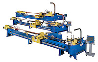 Three large industrial machines for bending pipes