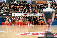 6th June 2021; Ken Rosewall Arena, Sydney, New South Wales, Australia; Australian Suncorp Super Netball, New South Wales, NSW Swifts versus Giants Netball; the Giants line up before the start with the Carol Sykes trophy in view