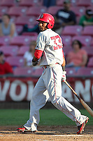 Spokane Indians outfielder Ruben Sierra,jr. #33 bats against the Salem-Keizer Valcanoes at Valcanoes Stadium on August 10, 2011 in Salem-Keizer,Oregon. Salem-Keizer defeated Spokane 7-6.(Larry Goren/Four Seam Images)