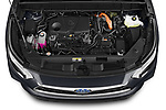 Car Stock 2021 Toyota Highlander-Hybrid Limited 5 Door SUV Engine  high angle detail view