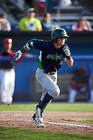 Vermont Lake Monsters second baseman Trace Loehr (6) runs to first during a game against the Batavia Muckdogs August 9, 2015 at Dwyer Stadium in Batavia, New York.  Vermont defeated Batavia 11-5.  (Mike Janes/Four Seam Images)