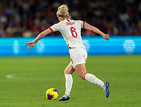 ORLANDO, FL - MARCH 05: Millie Bright #6 of England dribbles during a game between England and USWNT at Exploria Stadium on March 05, 2020 in Orlando, Florida.