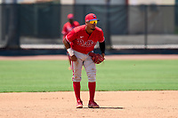 Philadelphia Phillies shortstop Alexeis Azuaje (5) during an Extended Spring Training game against the Toronto Blue Jays on June 12, 2021 at the Carpenter Complex in Clearwater, Florida. (Mike Janes/Four Seam Images)