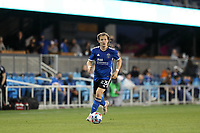 SAN JOSE, CA - MAY 12: Florian Jungwirth #23 of the San Jose Earthquakes during a game between Seattle Sounders FC and San Jose Earthquakes at PayPal Park on May 12, 2021 in San Jose, California.