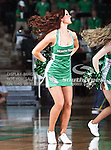 A North Texas Mean Green cheerleader in action during the NCAA Women's basketball game between the Arkansas State Red Wolves and the University of North Texas Mean Green at the North Texas Coliseum,the Super Pit, in Denton, Texas. Arkansas State defeated UNT 62 to 59