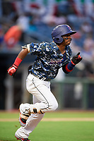 Jacksonville Jumbo Shrimp shortstop Mason Davis (2) runs to first base during a game against the Mobile BayBears on April 14, 2018 at Baseball Grounds of Jacksonville in Jacksonville, Florida.  Mobile defeated Jacksonville 13-3.  (Mike Janes/Four Seam Images)