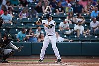 AJ Gill (7) of the Winston-Salem Dash at bat against the Greensboro Grasshoppers at Truist Stadium on June 19, 2021 in Winston-Salem, North Carolina. (Brian Westerholt/Four Seam Images)
