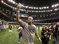 Michigan players celebrates after winning Sugar Bowl game against Virginia Tech at Mercedes-Benz SuperDome in New Orleans, Louisiana on January 3rd, 2012.  Michigan defeated Virginia Tech, 23-20 in first overtime.