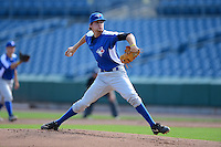 Pitcher Doug Norman (11) of Ardrey Kell High School in Fort Mill, South Carolina playing for the Toronto Blue Jays scout team during the East Coast Pro Showcase on August 2, 2013 at NBT Bank Stadium in Syracuse, New York.  (Mike Janes/Four Seam Images)