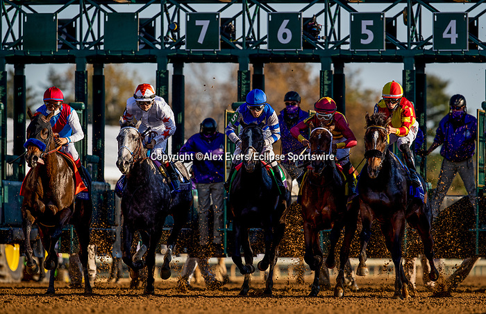 November 6, 2020: Starts of the Breeders Cup Juvenile Fillies at Keeneland Racetrack in Lexington, Kentucky on November 6, 2020. Alex Evers/Eclipse Sportswire/Breeders Cup