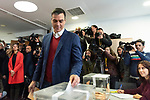 The candidate for the presidency of the government for PSOE, Pedro Sanchez, goes to vote<br /> November 10, 2019. <br /> (ALTERPHOTOS/David Jar)