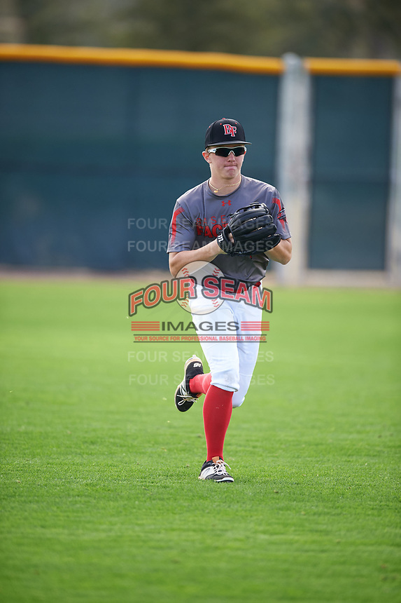 Calin Smith (7) of Trinity Christian High School in Peachtree City, Georgia during the Under Armour All-American Pre-Season Tournament presented by Baseball Factory on January 14, 2017 at Sloan Park in Mesa, Arizona.  (Mike Janes/MJP/Four Seam Images)